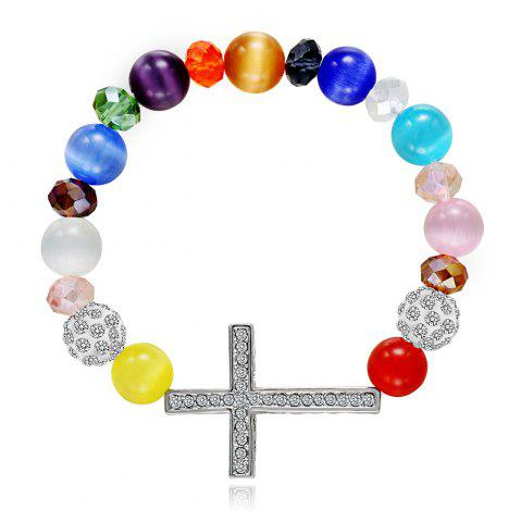 Unique Colorful Glass Elastic Cross Beads Bracelets Charm Diy Jewelry Christmas Gif