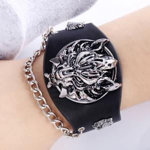 Fashion Design Punk Style Black Wolf Wide Leather Bracelets Chain Jewelry -