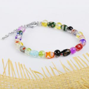 Women's Fashion Multicolor Glass Elastic Bracelets Charm Jewelry Christmas Gift -