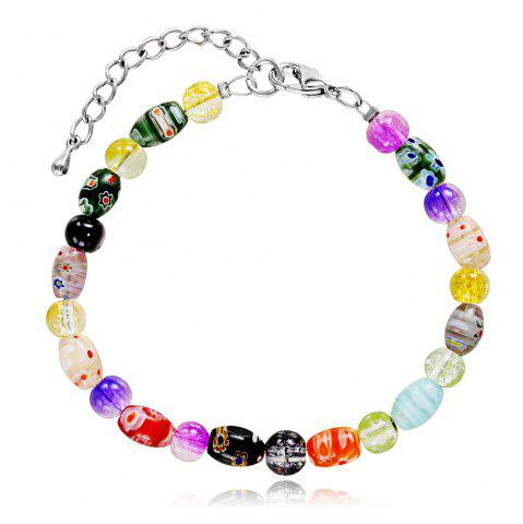 Hot Women's Fashion Multicolor Glass Elastic Bracelets Charm Jewelry Christmas Gift