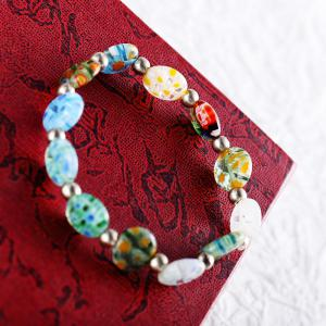 Korean Style Colorful Flowers Glass Sweet DIY Elastic Bead Bracelets Charm Jewelry -