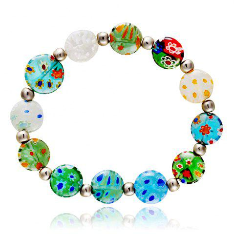 Cheap Korean Style Colorful Flowers Glass Sweet DIY Elastic Bead Bracelets Charm Jewelry