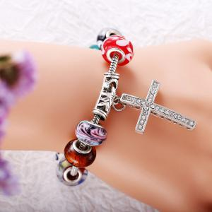 Vintage Colourful Glaze DIY Bangle Cross Bead Bracelets -