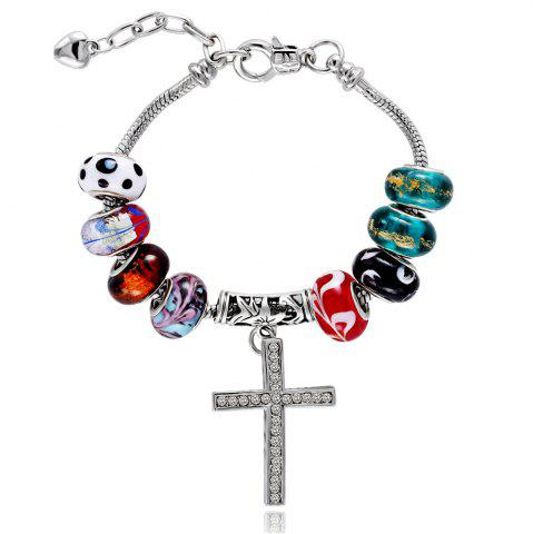 Store Vintage Colourful Glaze DIY Bangle Cross Bead Bracelets