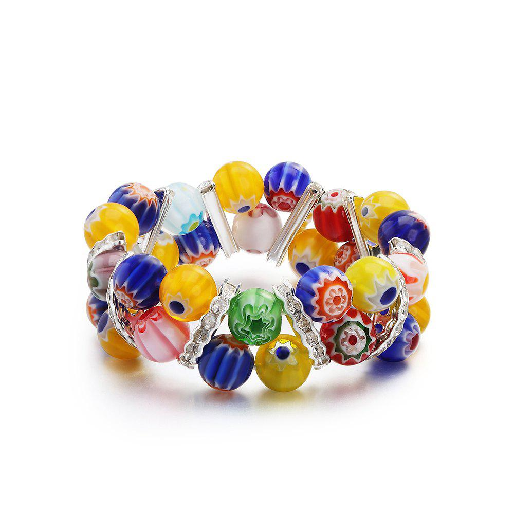 Discount Fashion Design Popular Elastic  Colorful Glass Beads Bracelets