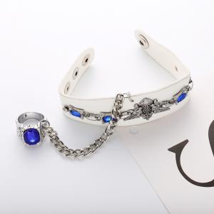 Punk Style Sapphire Wide Leather Bracelets Charm Jewelry -