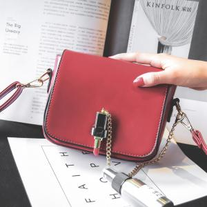 Solid Color Female Small Lipstick Lock Single Shoulder Handbag Chain Small Bag -