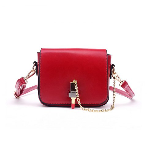 Chic Solid Color Female Small Lipstick Lock Single Shoulder Handbag Chain Small Bag