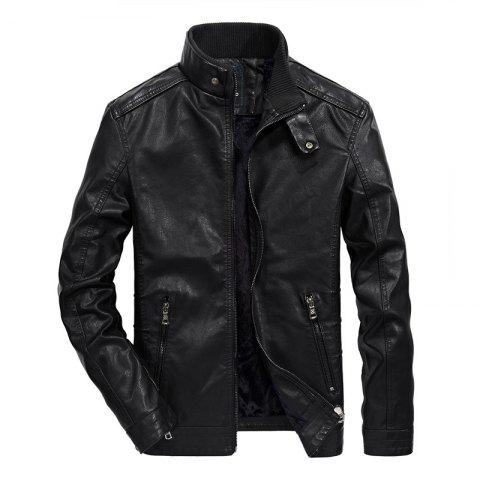 Chic Men Thin Inner Solid Leather Jacket