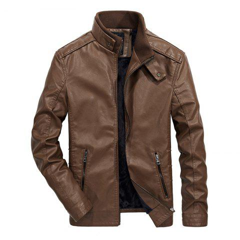 Shop Men Thin Inner Solid Leather Jacket