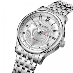 CADISEN C6128 Men Luxury Stainless Steel Band Quartz Watch -
