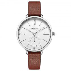 CADISEN C6135 Contracted Leather Band Quartz Women Watch -