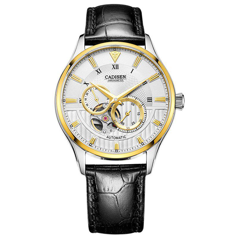 Buy CADISEN C8111 Men Leather Band Automatic Wristwatch