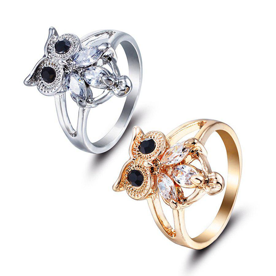 Unique 2017 New Europe Style Jewelry Cheap Silver Gold Silver Color Crystal Owl Rings for women Jewelry For Women Anel Feminino A0219