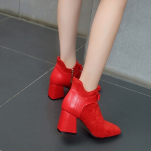 Women's Shoes Winter Fashion Bootie Square Toe Ankle Boots -