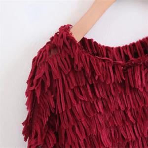New Lady Wine Red Grain Decoration Jumper -