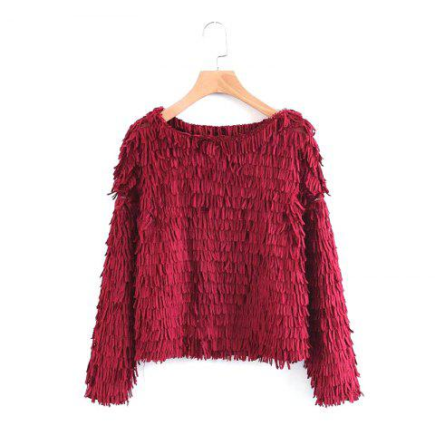 Outfit New Lady Wine Red Grain Decoration Jumper