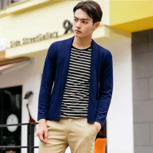 Men's Basic Long Sleeve V Neck Knitted Cardigan -