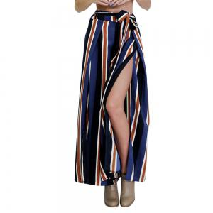 Color Striped Side Split Sexy Lace Wide Leg Pants Female -
