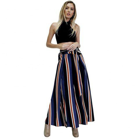 Online Color Striped Side Split Sexy Lace Wide Leg Pants Female