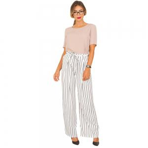 Striped Trousers Wide Leg Half-length Loose Trousers Female -