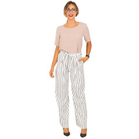 Shops Striped Trousers Wide Leg Half-length Loose Trousers Female