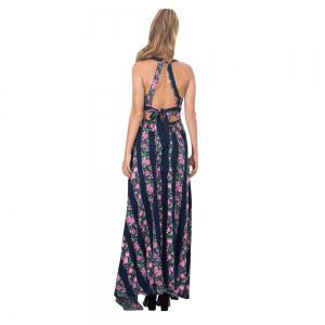 Lace Stitching Retro Print Halter Back Sexy Long Dress -