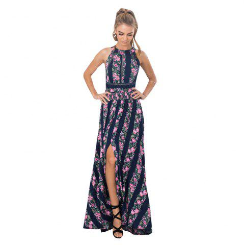 Chic Lace Stitching Retro Print Halter Back Sexy Long Dress