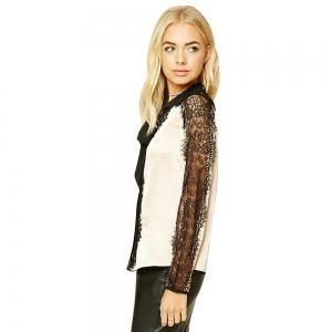 Sexy Hollow Lace Lashes  Stitching OL Long-Sleeved Shirt -