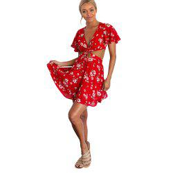 Sexy V-neck Short-Sleeved Back with Floral Print Dress -