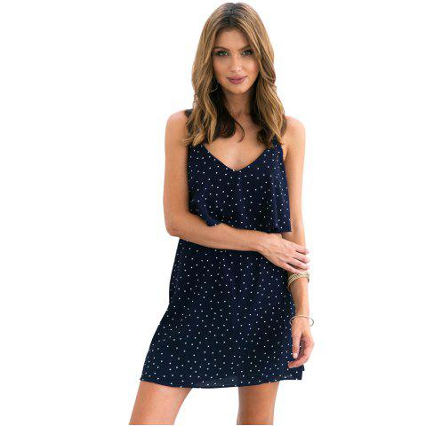 Fancy Sweet Polka Dot Print Skirt V-neck Halter Dress