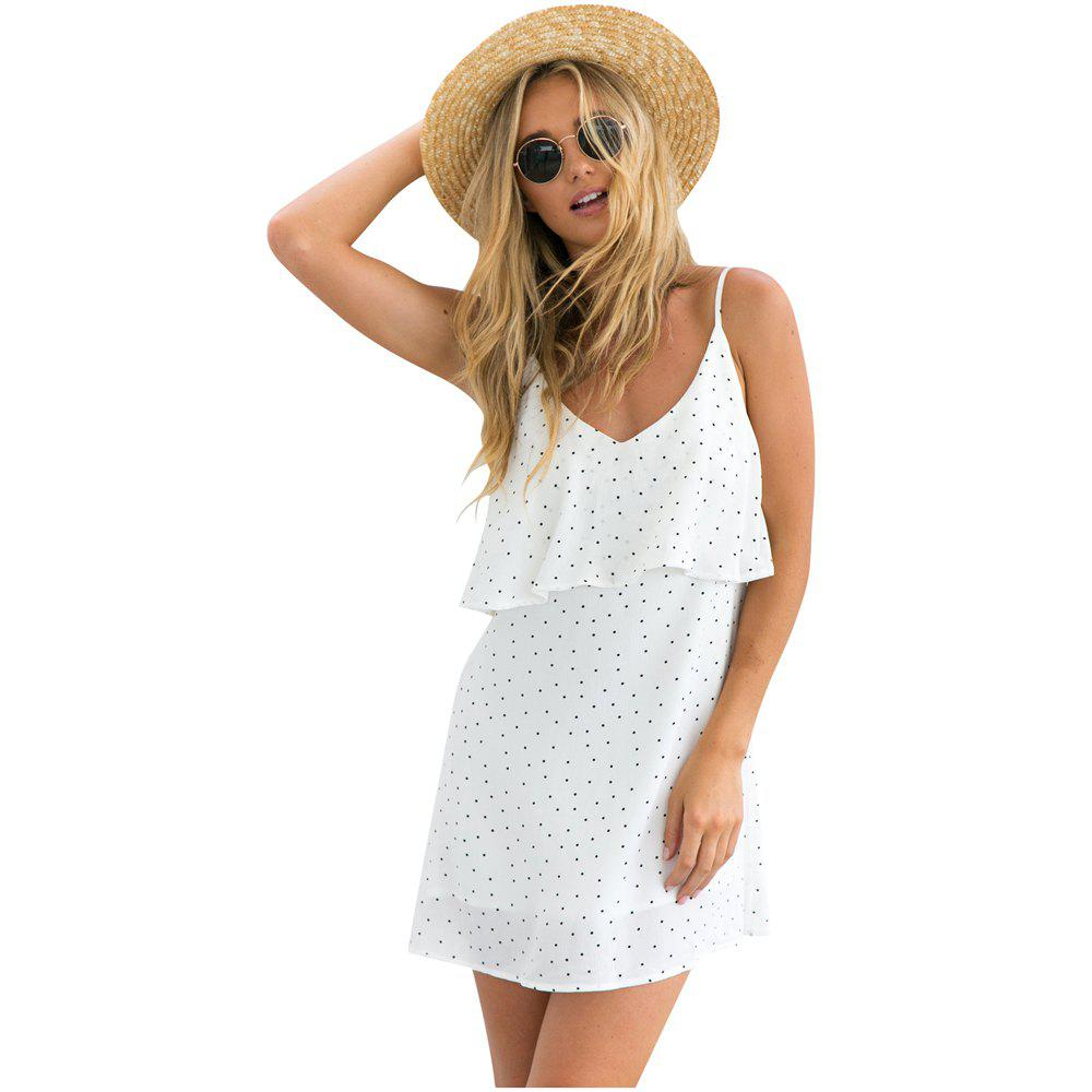 Hot Sweet Polka Dot Print Skirt V-neck Halter Dress