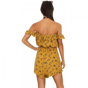One Shoulder Printing Flounced Halter Strap One-Piece Pants Shorts -