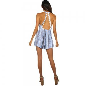 Lace Lace Stitching Deep V Sleeveless Backless Printing Piece Shorts -