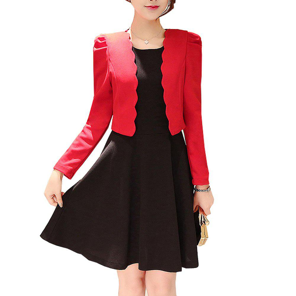 Shops Women's 2Pcs Dress Set Chic Solid Color Slim O Neck Tank Dress And Long Sleeve Short Coat