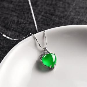 JAMOUR S925 Silver Heart Pendant Natural Green Onyx Necklace -