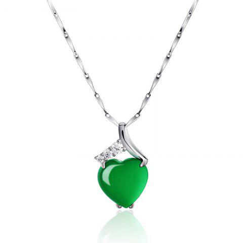 Shop JAMOUR S925 Silver Heart Pendant Natural Green Onyx Necklace