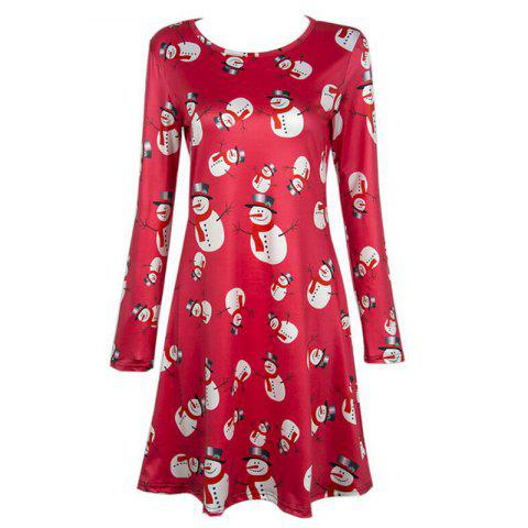 Chic Women's  Long Sleeve Santa Snowman Print Christmas Swing Dress
