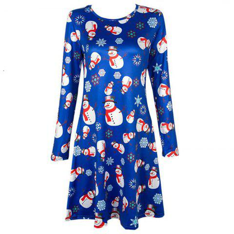 Online Women's  Long Sleeve Santa Snowman Print Christmas Swing Dress