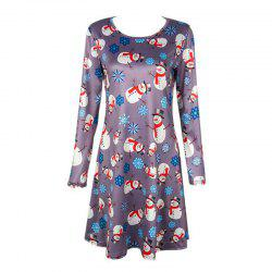 Women's  Long Sleeve Santa Snowman Print Christmas Swing Dress -