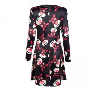 Women's  Long Sleeve Santa Fawn Print Christmas Swing Dress -