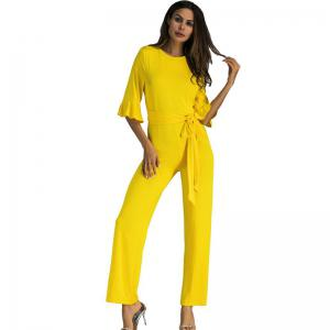 Women's Jumpsuit Ruffle Half Sleeves Sash -