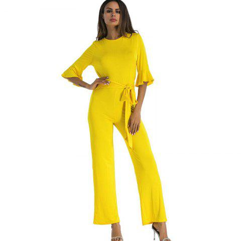 Sale Women's Jumpsuit Ruffle Half Sleeves Sash
