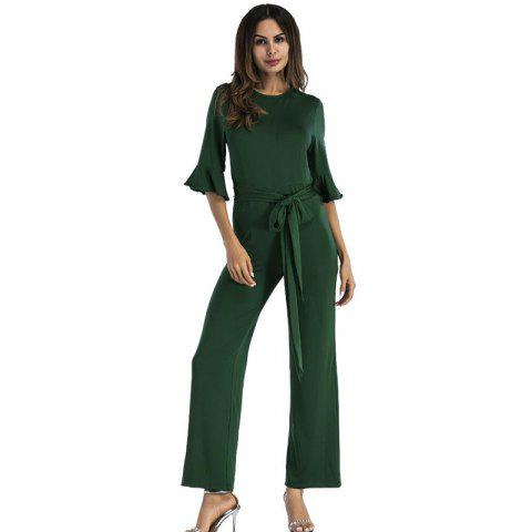 Hot Women's Jumpsuit Ruffle Half Sleeves Sash