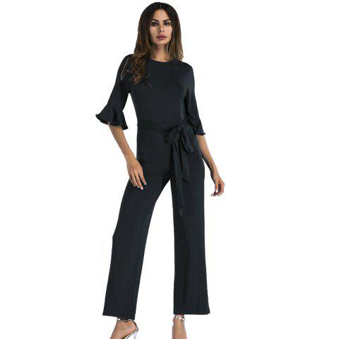 Fancy Women's Jumpsuit Ruffle Half Sleeves Sash