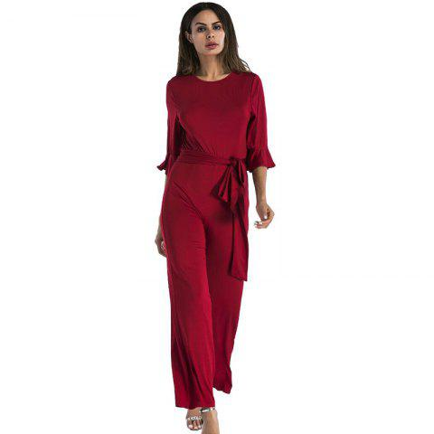 Cheap Women's Jumpsuit Ruffle Half Sleeves Sash