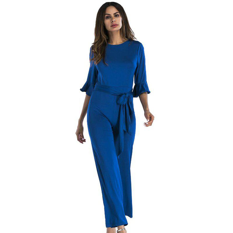 Shop Women's Jumpsuit Ruffle Half Sleeves Sash