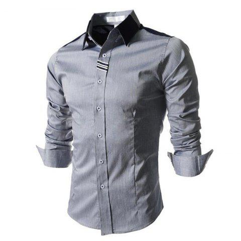 Affordable Men's Block Classic Collar Long Sleeves Casual Shirt