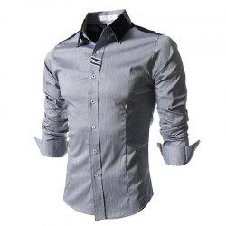Men's Block Classic Collar Long Sleeves Casual Shirt -
