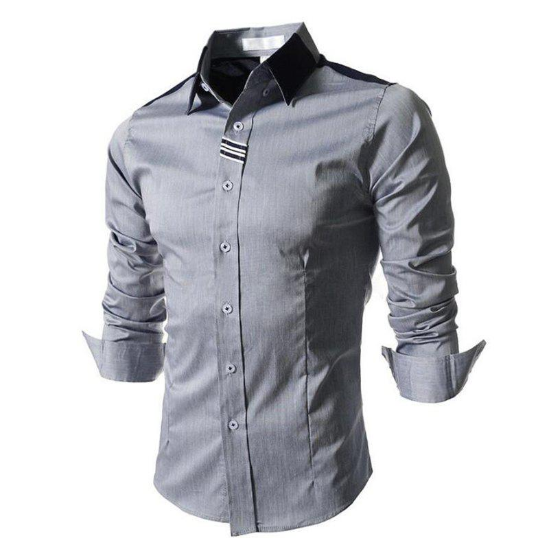 Chic Men's Block Classic Collar Long Sleeves Casual Shirt